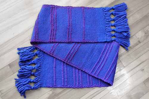 Blue pile loop wool scarf, handwoven scarf, Merino wool, Peruvian Highland wool, purple on blue, Hampshire Hill