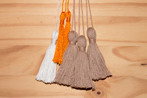 "Assorted 3"" cotton tassels: Bundle of six"