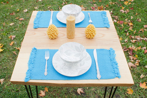Plain blue cotton placemats: Set of four, handwoven placemats, Hampshire Hill