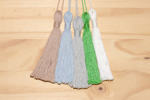 "Load image into Gallery viewer, Assorted 4"" cotton ornaments: Bundle of five, handmade tassels, recycled loom waste, brown, baby blue, blue-grey, bright green, white, Bundle 4, Christmas ornament, Hampshire Hill"