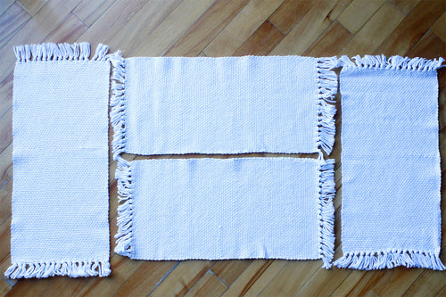 Plain white cotton placemats: Set of four, handwoven placemats, Hampshire Hill