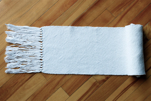 Plain white cotton table runner, handwoven table runner, Hampshire Hill