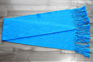 Plain blue cotton table runner, handwoven table runner, bright blue, Hampshire Hill