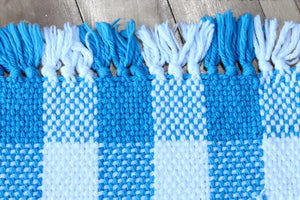 Checkered blue cotton placemats: Set of four, handwoven placemats, blue/white, Hampshire Hill