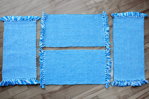 Blue double woven cotton placemats: Set of four, handwoven placemats, blue/white, Hampshrie Hill