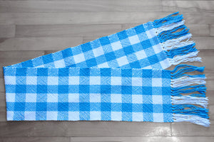 Checkered blue cotton table runner, handwoven table runner, blue on white, Hampshire Hill