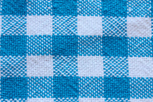 Load image into Gallery viewer, Checkered blue cotton table runner, handwoven table runner, blue on white, Hampshire Hill