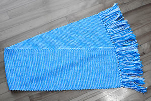 Blue double woven cotton table runner, handwoven table runner, blue/white, Hampshire Hill