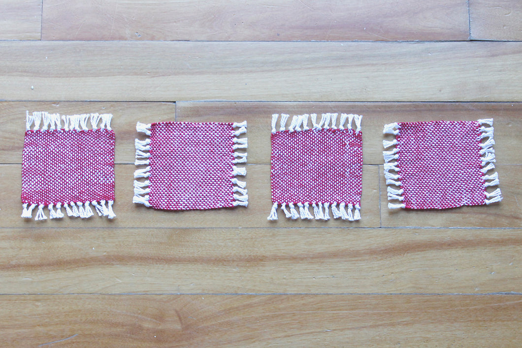 Plain red cotton coasters: Set of four, handwoven coasters, red on white, Hampshire Hill