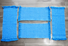 Load image into Gallery viewer, Textured blue cotton placemats: Set of four, handwoven placemats, white on blue, Hampshire Hill