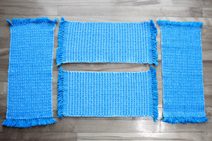 Textured blue cotton placemats: Set of four, handwoven placemats, white on blue, Hampshire Hill
