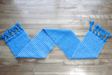 Load image into Gallery viewer, Textured blue cotton table runner, handwoven table runner, white on blue, Hampshire Hill