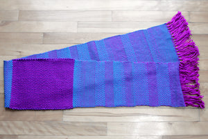 Blue zigzag wool scarf, handwoven scarf, Merino wool, superwash wool, blue/purple, Hampshire Hill