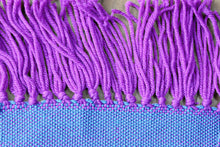 Load image into Gallery viewer, Blue zigzag wool scarf, handwoven scarf, Merino wool, superwash wool, blue/purple, Hampshire Hill