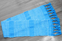 Load image into Gallery viewer, Blue diamond cotton table runner, handwoven table runner, white on blue, Hampshire Hill