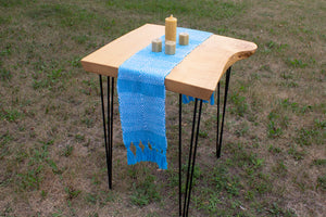 Blue diamond cotton table runner, handwoven table runner, white on blue, Hampshire Hill