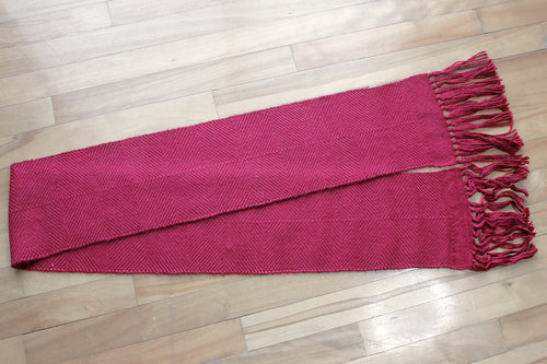 Burgundy diamond alpaca scarf, handwoven scarf, Royal alpaca, red, Hampshire Hill