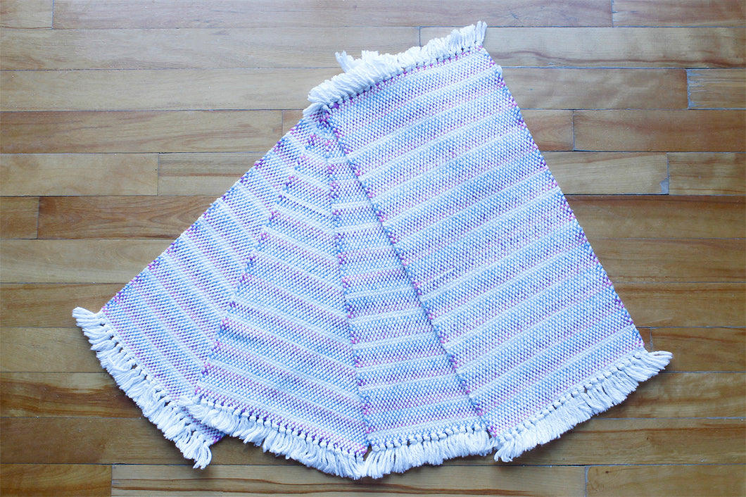 Banded offwhite cotton placemats: Set of four, handwoven placemats, purple/blue/white on offwhite, Hampshire Hill