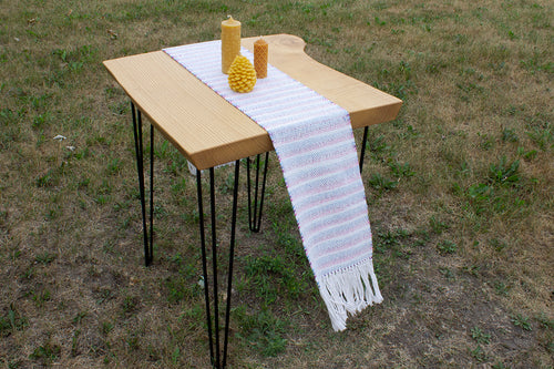 Banded offwhite cotton table runner, handwoven table runner, purple/blue/white on offwhite, Hampshire Hill