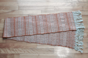 Textured grey alpaca scarf, handwoven scarf, orange on grey, Hampshire Hill