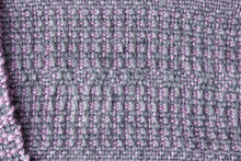 Load image into Gallery viewer, Lavender window weave alpaca scarf, handwoven scarf, Royal alpaca, purple on grey, Hampshire Hill
