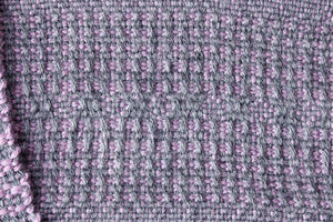 Lavender window weave alpaca scarf, handwoven scarf, Royal alpaca, purple on grey, Hampshire Hill
