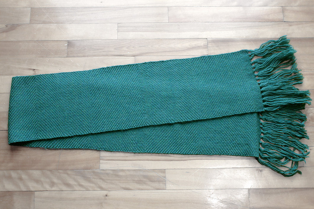 Green zigzag wool scarf, handwoven scarf, new wool, forest green, Hampshire Hill