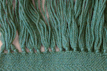Load image into Gallery viewer, Green zigzag wool scarf, handwoven scarf, new wool, forest green, Hampshire Hill