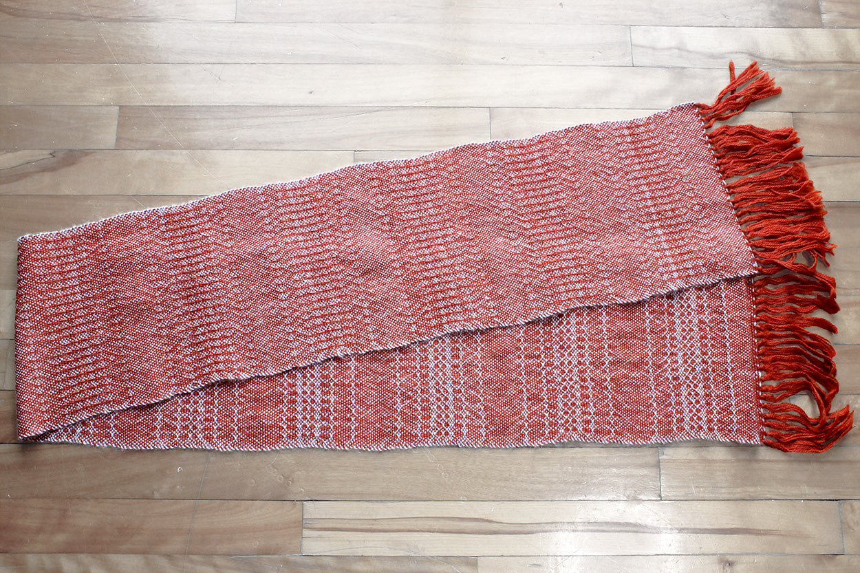 Textured orange alpaca scarf, handwoven scarf, grey on orange, Hampshire Hill
