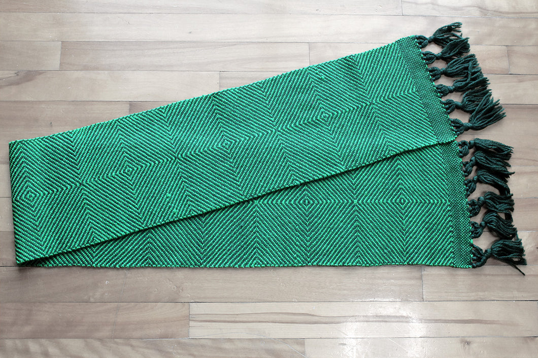Green diamond wool scarf, handwoven scarf, Peruvian Highland wool, bright green on dark green, Hampshire Hill