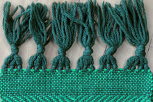Load image into Gallery viewer, Green diamond wool scarf, handwoven scarf, Peruvian Highland wool, bright green on dark green, Hampshire Hill
