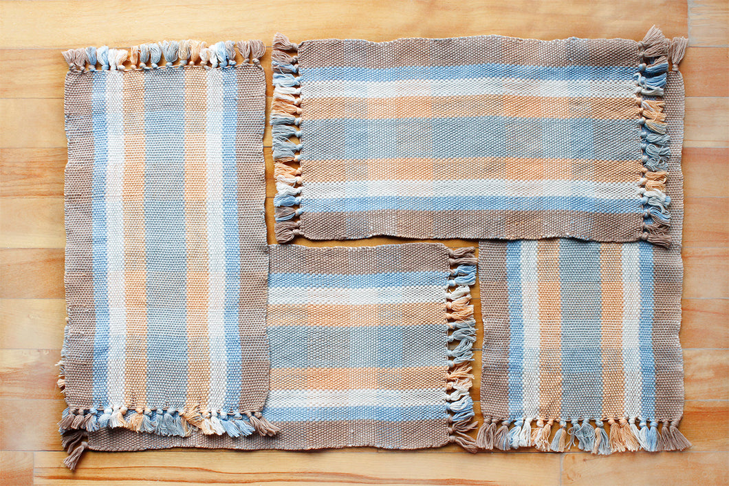 Custom order multi-coloured plaid cotton placemats: Set of four, handwoven placemats, brown/blue/natural/orange/grey, Hampshire Hill