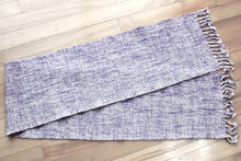 Load image into Gallery viewer, Plain marbled purple wool scarf, handwoven scarf, Peruvian Highland wool, purple/white, twisted fringe, Hampshire Hill