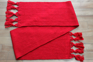 Red multi-diamond wool scarf, handwoven scarf, Peruvian Highland wool, scarlet, Hampshire Hill