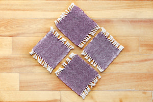 Plain purple cotton coasters: Set of four, handwoven coasters, purple on white, Hampshire Hill
