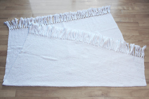 Plain white cotton throw, small handwoven blanket, white, Hampshire Hill