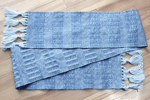 Blue weft float wool scarf, handwoven scarf, Andean Highland wool, superwash wool, baby blue on blue, Hampshire Hill