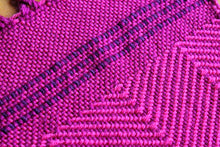 Load image into Gallery viewer, Magenta zigzag wool scarf, handwoven scarf, Peruvian Highland wool, pink on purple, twisted fringe, Hampshire Hill