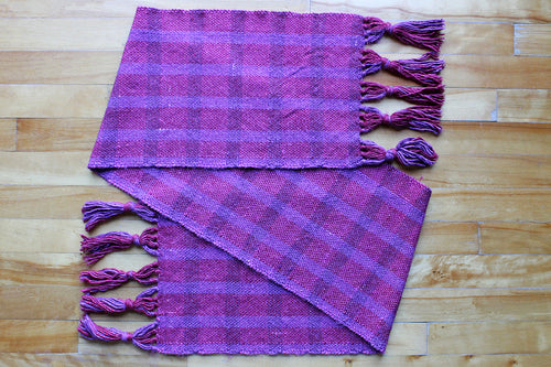 Purple plaid wool scarf, handwoven scarf, alpaca, silk, purple and pink, Hampshire Hill