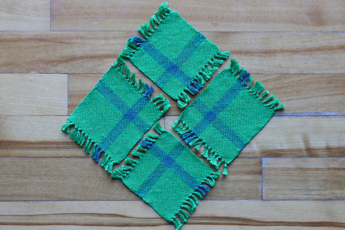 Striped green cotton coasters: Set of four, handwoven coasters, green/blue, Hampshire Hill
