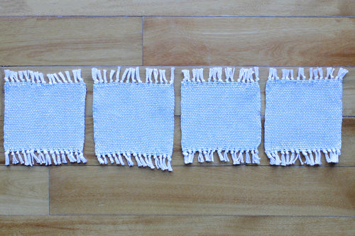 Plain grey cotton coasters: Set of four, handwoven coasters, grey on white, Hampshire Hill