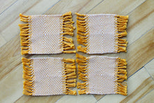 Load image into Gallery viewer, Orange diamond cotton coasters: Set of four, handwoven coasters, pale orange on bright orange, Hampshire Hill