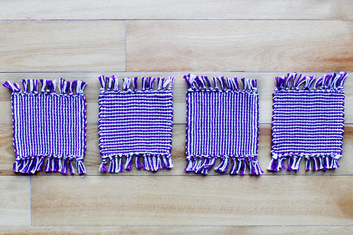 Striped purple cotton coasters: Set of four, handwoven coasters, purple/white, Hampshire Hill