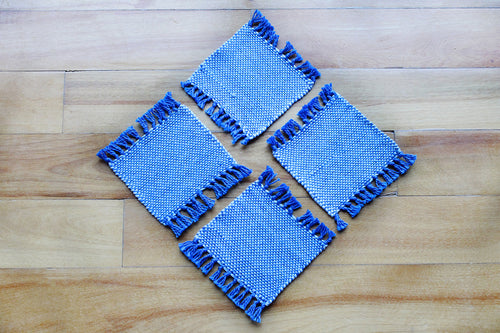 Plain blue cotton coasters: Set of four, handwoven coasters, pale blue on deep blue, Hampshire Hill
