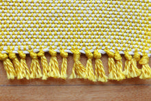 Load image into Gallery viewer, Plain yellow cotton coasters: Set of four, handwoven coasters, white on yellow, Hampshire Hill