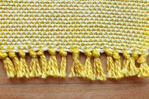 Plain yellow cotton coasters: Set of four, handwoven coasters, white on yellow, Hampshire Hill