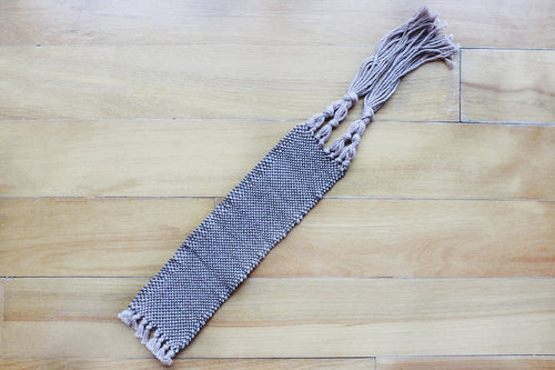 Plain brown large cotton bookmark, handwoven bookmark, linen, dark brown on pale brown, decorative fringe, Hampshire Hill