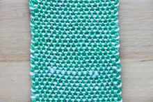 Load image into Gallery viewer, Plain cotton bookmark, handwoven bookmark, linen, green & white, decorative fringe, Hampshire Hill