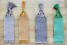 Load image into Gallery viewer, Plain small cotton bookmark, handwoven bookmark, linen, green & white, orange, brown, brown & orange, decorative fringe, Hampshire Hill