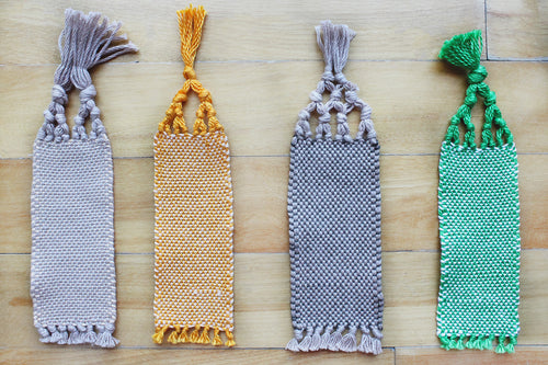 Plain small cotton bookmark, handwoven bookmark, linen, green & white, orange, brown, brown & orange, decorative fringe, Hampshire Hill